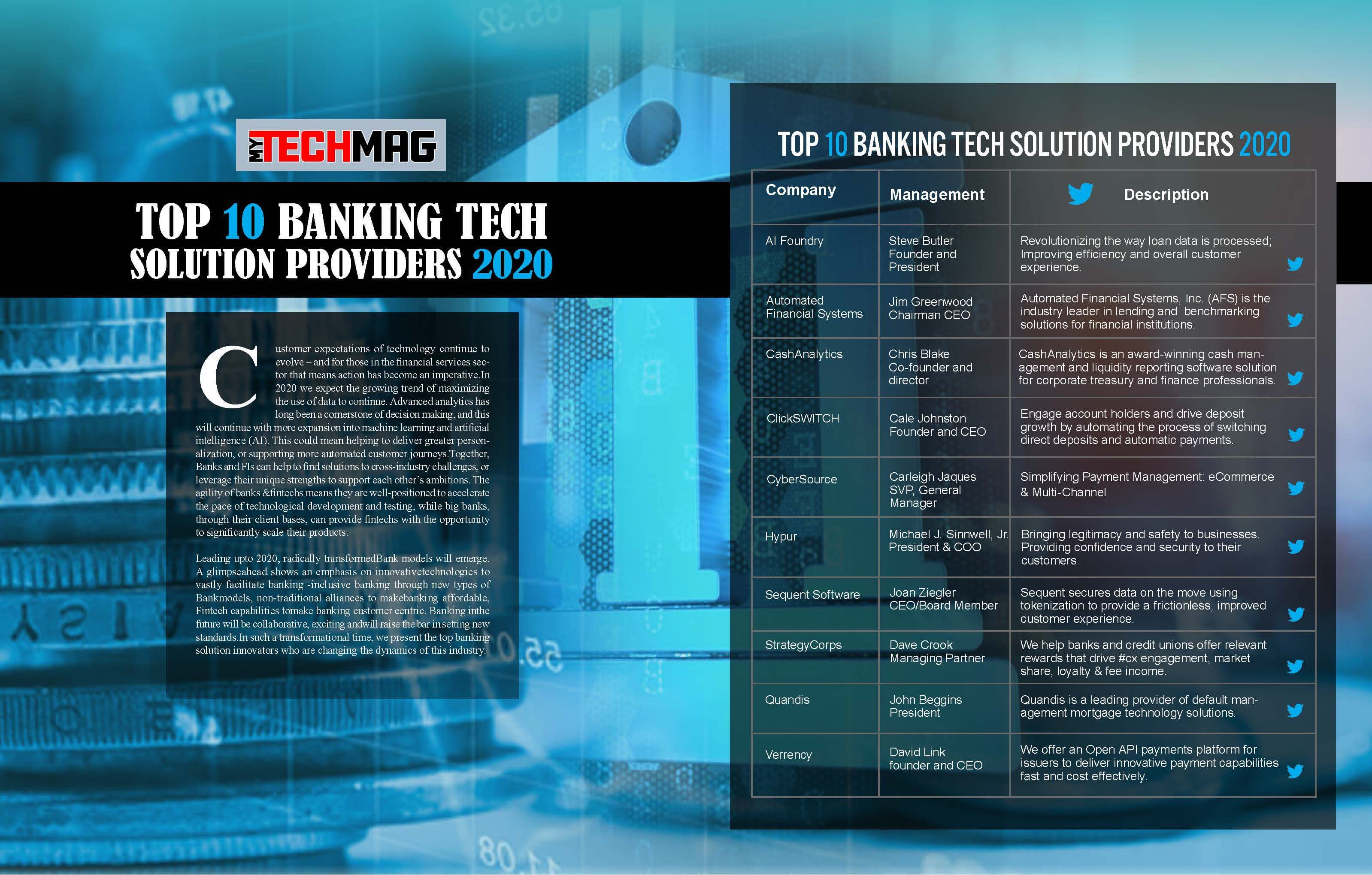 Top 10 Banking Tech Solution Providers 2020