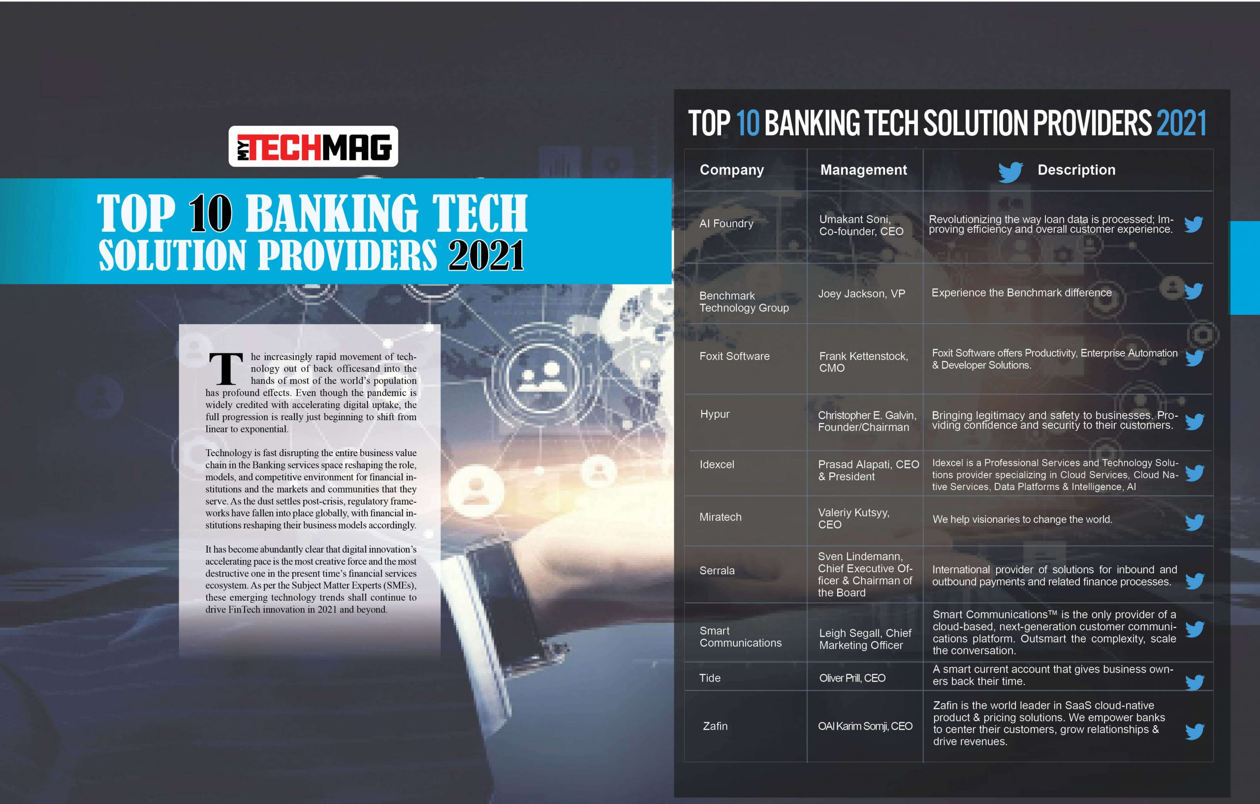 Top 10 Banking Tech Solution Providers 2021